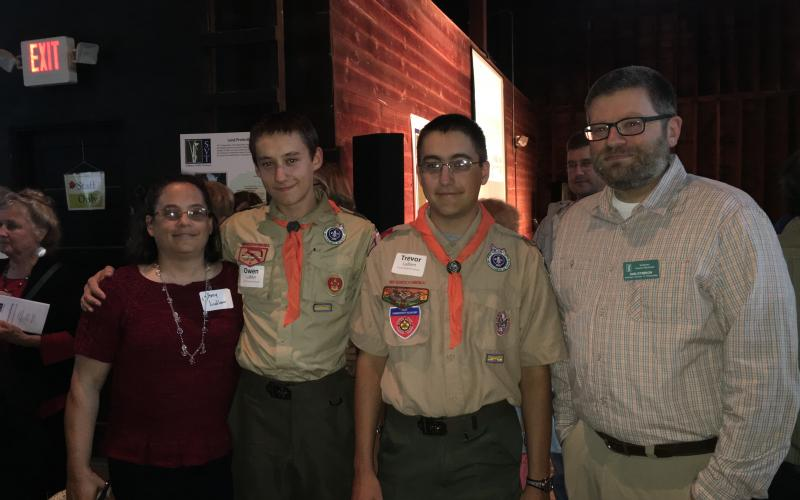 Youth Stewards Owen and Trevor Ludlam chatted with their mother, Amy, and SVT's Dan Stimson prior to the awards ceremony.