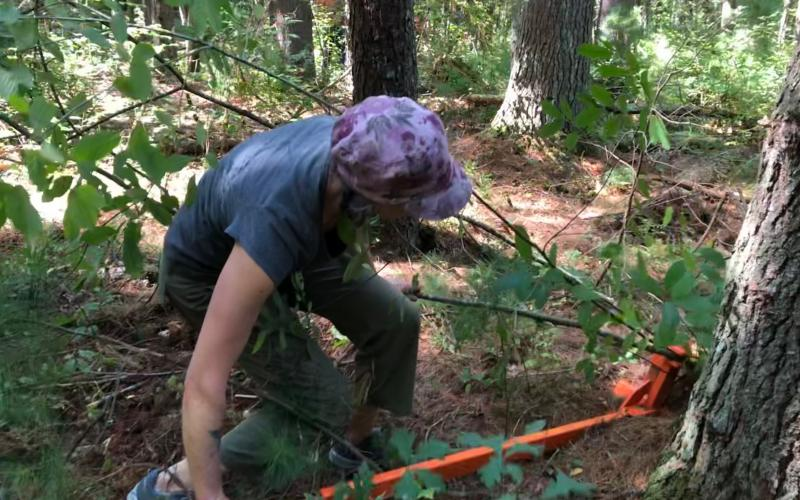 A TerraCorps-AmeriCorps Member tried out a weed wrench at SVT's Memorial Forest Reservation in Sudbury.