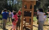 Volunteers helped to build the Bee Hotel at SVT's Wolbach Farm