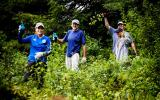 Contractors and volunteers work to improve wildlife habitat at Greenways in Wayland. Photo by Chuck Walla
