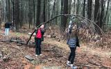 On Earth Day 2017, volunteers from Youth in Philanthropy cleared trails at SVT's Baiting Brook Meadow Farm CR in Framingham.
