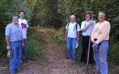 Volunteers at Landham Brook Marsh Conservation Land in Sudbury, after cutting the new trail this fall. Left to Right: Georges Gemayel, Charlie Russo, Dick Repose, Bill Fadden and Richard Mattione