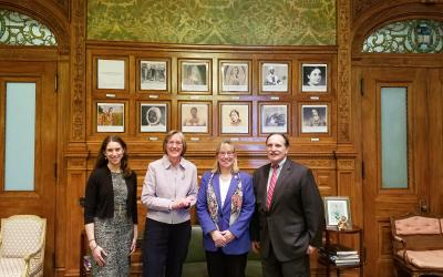 (L to R) Emily Myron, Lisa Vernegaard, Senate President Spilka, and Buzz Constable. Photo by Doug Howgate.