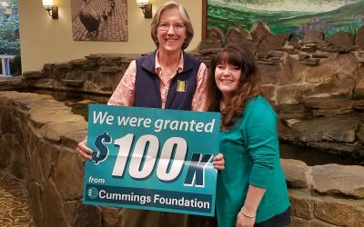 SVT Executive Director Lisa Vernegaard (left) was thrilled when she learned SVT had received a $100,000 grant from Cummings Foundation. Lisa got the good news from Cheryl Rank, Associate Director of New Horizons in Marlborough.