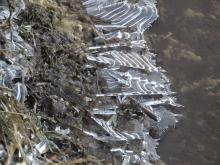 Ice on the Sudbury River in Wayland, photographed by Lisa Eggleston.
